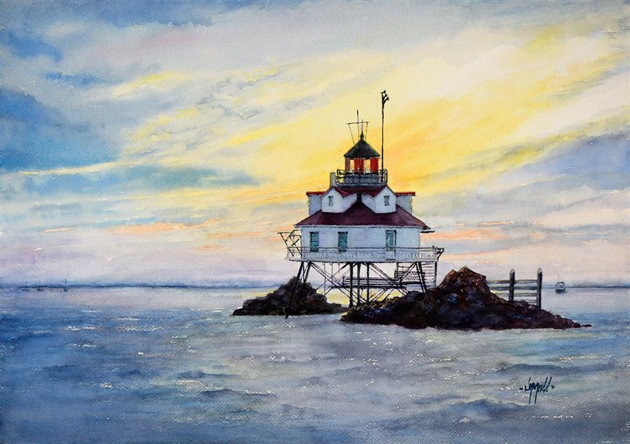 Original art for sale at UGallery.com   Thomas Point Shoal Lighthouse by Judy Mudd   $1,225   watercolor painting   14' h x 20' w   ..\art\watercolor-painting-Thomas-Point-Shoal-Lighthouse