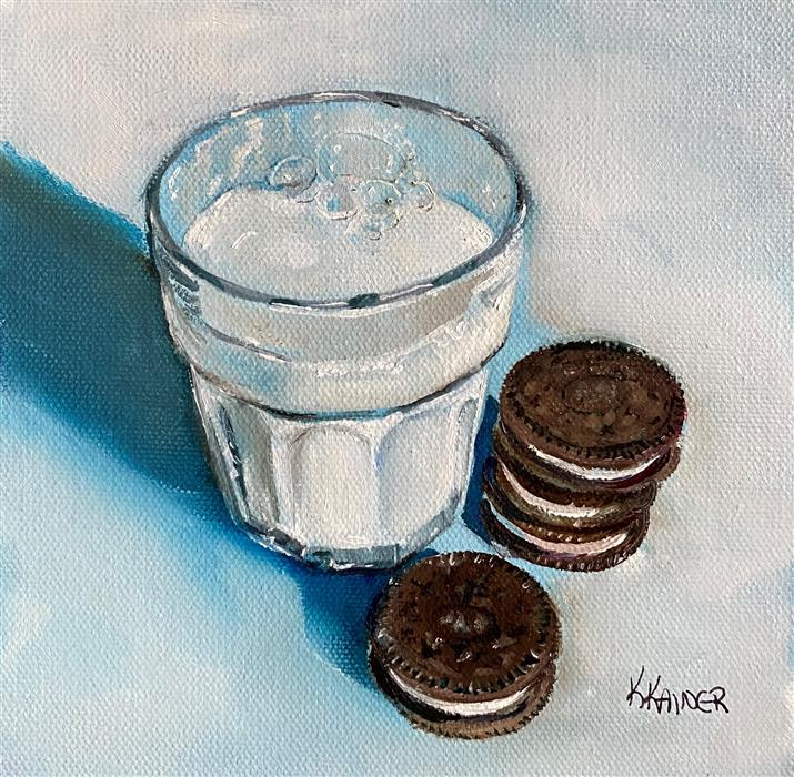 Original art for sale at UGallery.com   Oreos and Milk by Kristine Kainer   $325   oil painting   6' h x 6' w   ..\art\oil-painting-Oreos-and-Milk