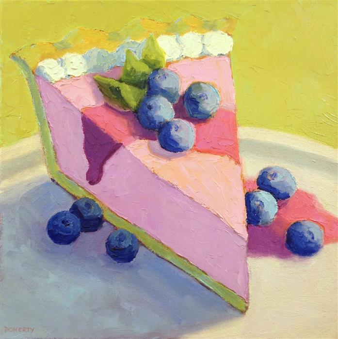 Original art for sale at UGallery.com | Raspberry Mousse Pie by Pat Doherty | $575 | oil painting | 12' h x 12' w | ..\art\oil-painting-Raspberry-Mousse-Pie