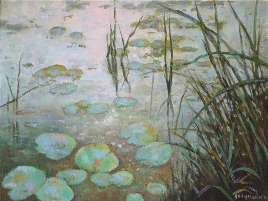 Original art for sale at UGallery.com | Waterlilies at Dawn by Gail Greene | $475 | oil painting | 12' h x 16' w | ..\art\oil-painting-Waterlilies-at-Dawn