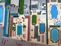 buildings art,landscape art,pop culture art,acrylic painting,Art Deco Pools