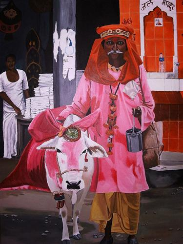 animals art,people art,religion art, acrylic painting, Hindu Man and Cow