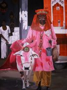 animals art,people art,religion art,acrylic painting,Hindu Man and Cow