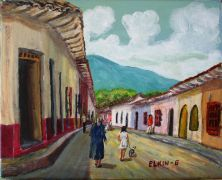 Architecture art,People art,acrylic painting,Streets of Santa Fe de Antioquia