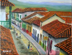 buildings art,acrylic painting,Rooftops of Santa Fe de Antioquia
