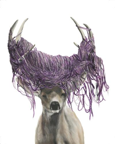 Original art for sale at UGallery.com | This Is Only a Temporary Solution (Deer) by JenMarie Zeleznak | $2,525 | archival print | 54' h x 39' w | http://www.ugallery.com/watercolor-painting-this-is-only-a-temporary-solution-deer