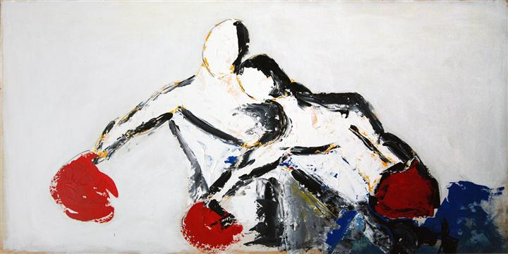 abstract art,sports art, acrylic painting, Lovers II
