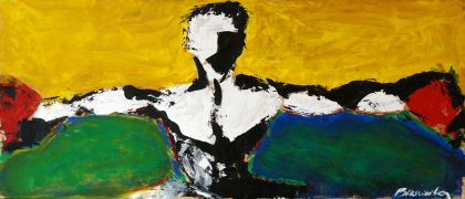 expressionism art,people art,sports art,acrylic painting,El Campeon II
