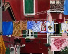 Still Life art,City art,acrylic painting,Venetian Laundry