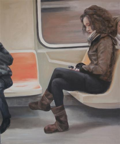 people art,city art, oil painting, Downtown R train - 49th St.