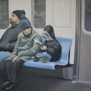 people art,city art,oil painting,Bronx Bound 6 Train