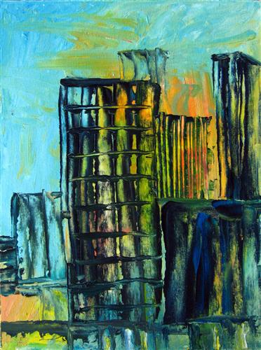 Original art for sale at UGallery.com | Downtown by Maria Dimanshtein | $325 | oil painting | 16' h x 12' w | http://www.ugallery.com/oil-painting-downtown-5099