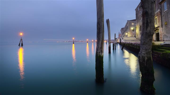 Discover Original Art by Etienne Roudaut | Blue Hour in Venice photography | Art for Sale Online at UGallery