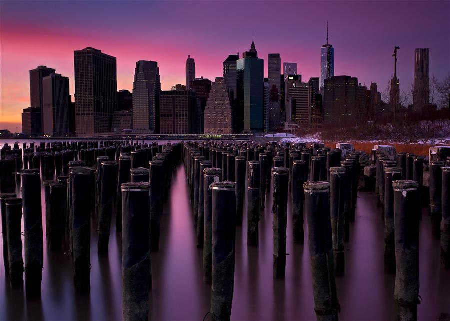 Original art for sale at UGallery.com | Manhattan Aglow by KATHERINE GENDREAU | $255 |  | ' h x ' w | \art\photography-Manhattan-Aglow