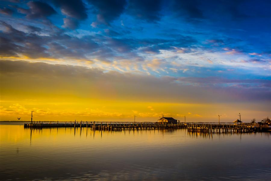 Original art for sale at UGallery.com | Bellport Dock at Sunrise by MICHAEL BUSCH | $170 |  | ' h x ' w | \art\photography-Bellport-Dock-at-Sunrise