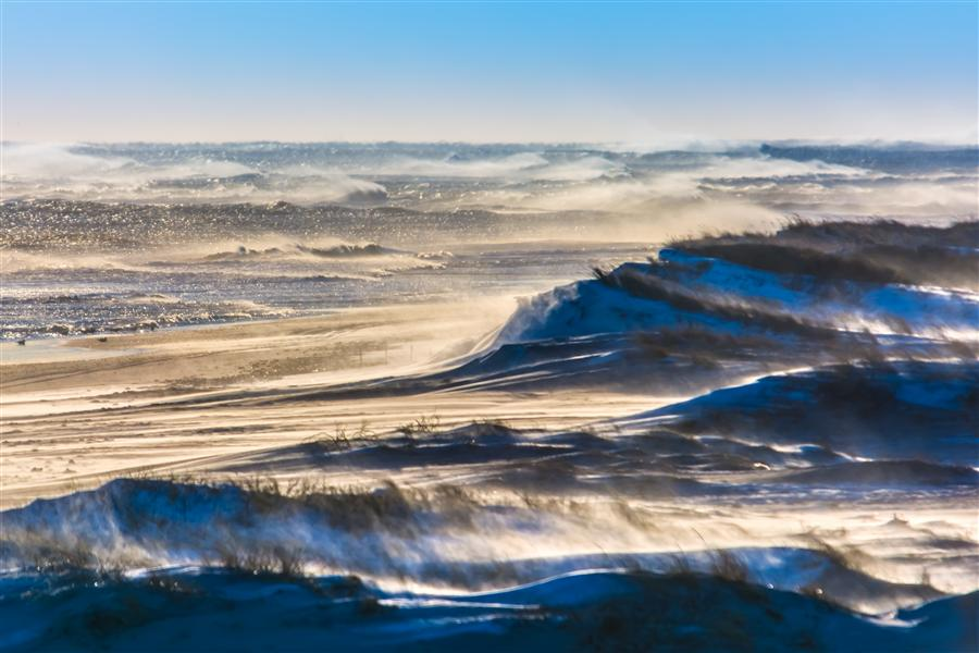 Original art for sale at UGallery.com | Wind Blown Snow, Sand, and Surf on Fire Island by MICHAEL BUSCH | $170 |  | ' h x ' w | \art\photography-Wind-Blown-Snow-Sand-and-Surf-on-Fire-Island