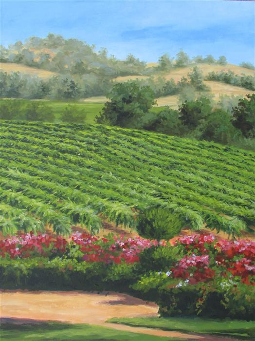 Discover Original Art by Ron Kenyon | California Mountain Vineyard acrylic painting | Art for Sale Online at UGallery