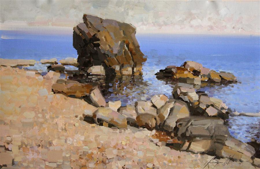Discover Original Art by Vahe Yeremyan | Rocks of the Sirens oil painting | Art for Sale Online at UGallery
