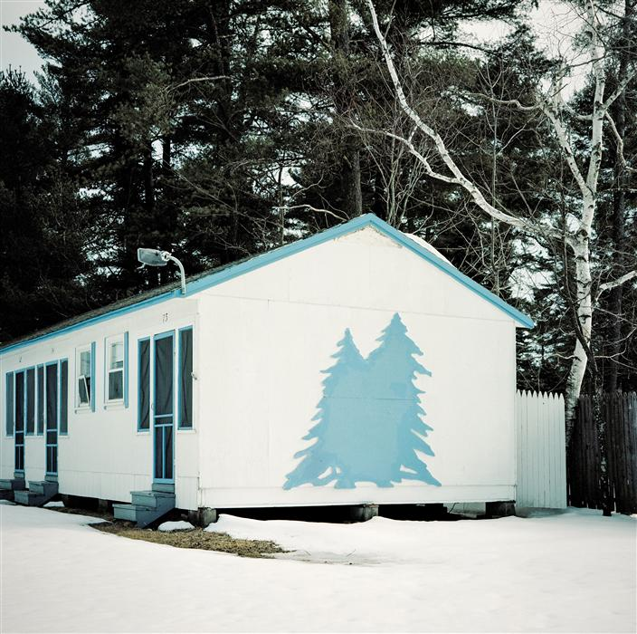 Original art for sale at UGallery.com | Cabin with Blue Tree by MARK YAGGIE | $160 |  | ' h x ' w | \art\photography-Cabin-with-Blue-Tree
