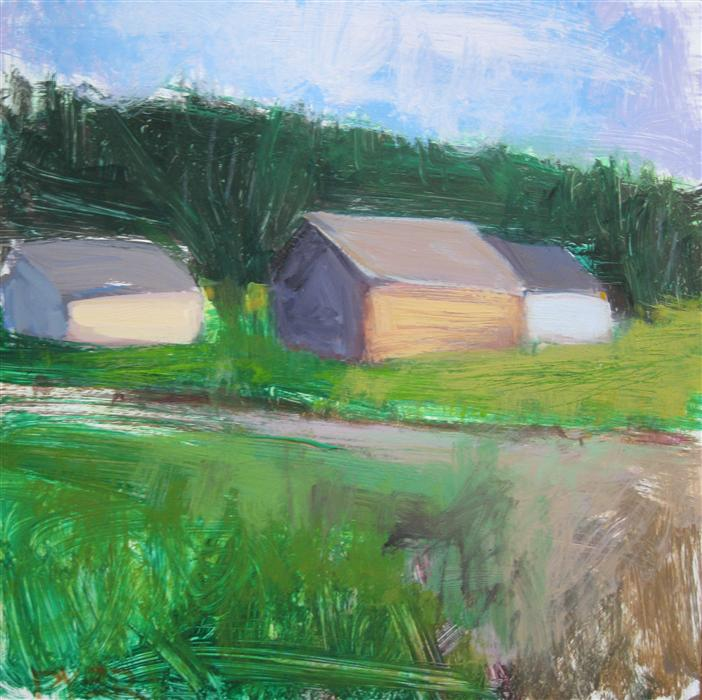 Discover Original Art by Janet Dyer | Three Barns and Road, France acrylic painting | Art for Sale Online at UGallery