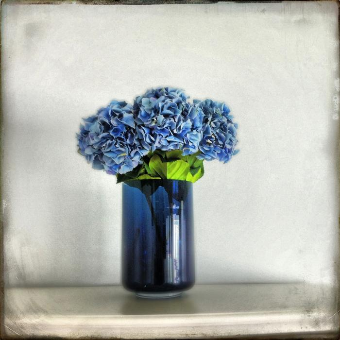 Original art for sale at UGallery.com | Hydrangeas in Blue Vase by GREG DYRO | $120 |  | ' h x ' w | \art\photography-Hydrangeas-in-Blue-Vase