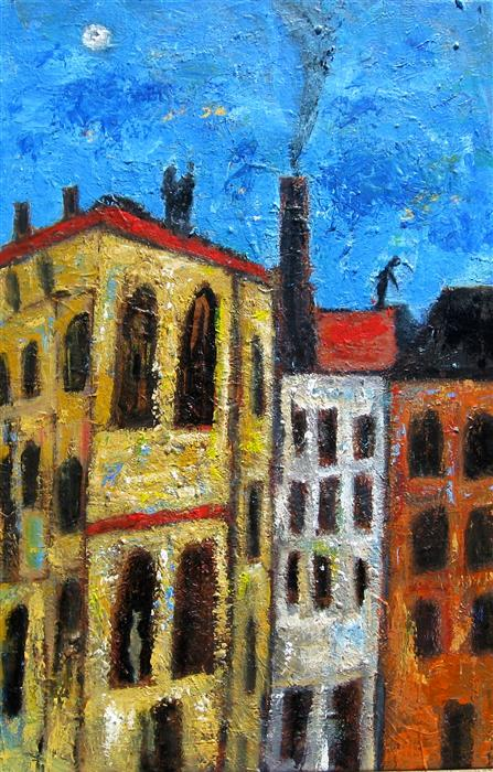 Discover Original Art by Ron Klotchman | Rooftops acrylic painting | Art for Sale Online at UGallery
