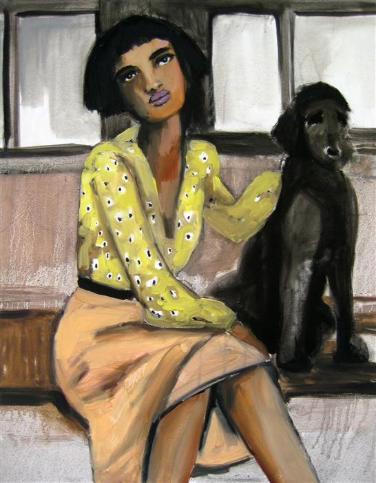 Discover Original Art by Malia Pettit | Girl and Dog on the L Train oil painting | Art for Sale Online at UGallery