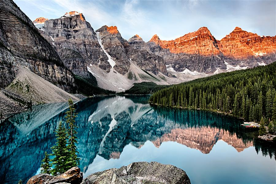 Original art for sale at UGallery.com | Moraine Lake, Sunrise by JAY MOORE | $170 |  | ' h x ' w | \art\photography-Moraine-Lake-Sunrise