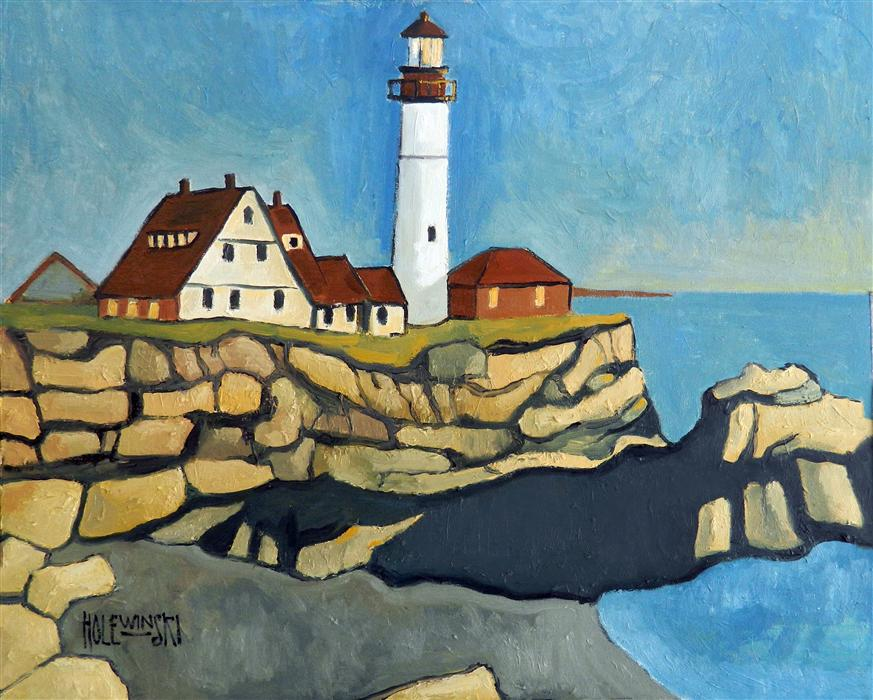 Discover Original Art by Robert  Holewinski | Maine Lighthouse oil painting | Art for Sale Online at UGallery