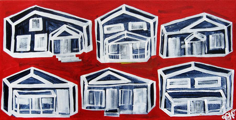 Discover Original Art by Jessica JH Roller | Houses on Red acrylic painting | Art for Sale Online at UGallery