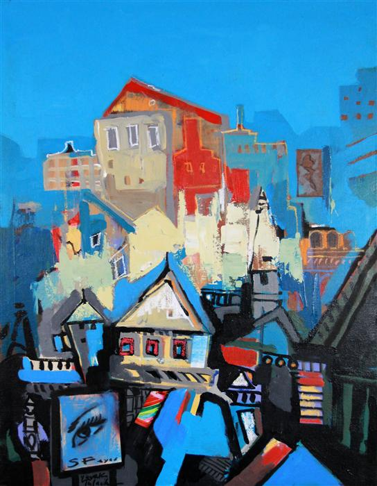 Discover Original Art by Yuvak Tuladhar | San Francisco Houses 01 mixed media artwork | Art for Sale Online at UGallery