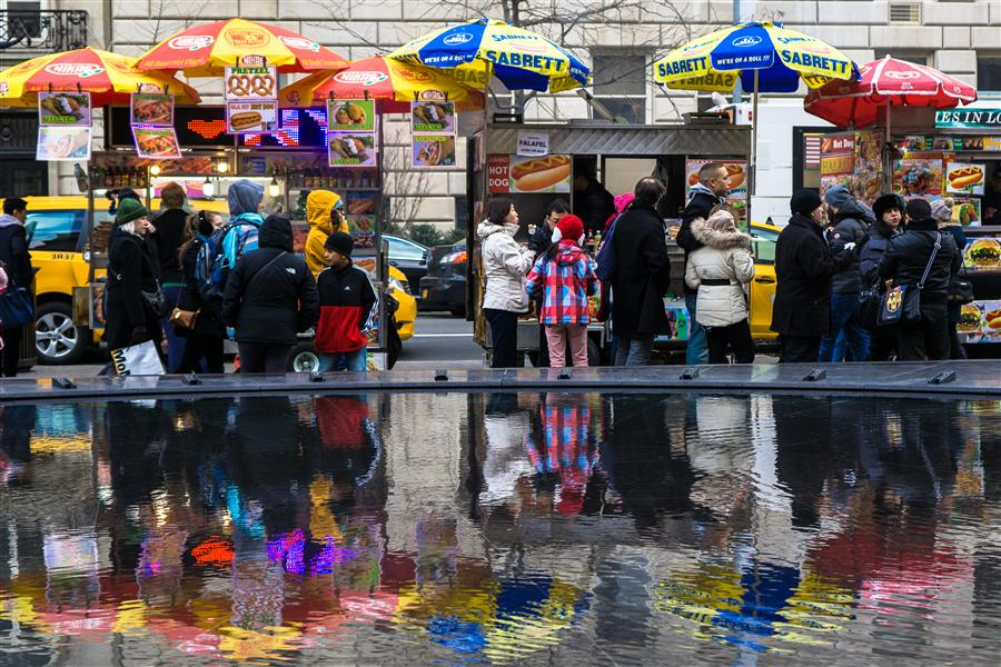 Original art for sale at UGallery.com | Hot Dog Cart Reflections by KIMBERLY POPPE | $145 |  | ' h x ' w | \art\photography-Hot-Dog-Cart-Reflections