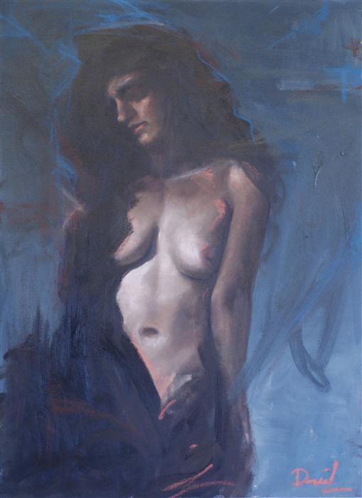 Discover Original Art by Daniel Harris | Blue Nude oil painting | Art for Sale Online at UGallery