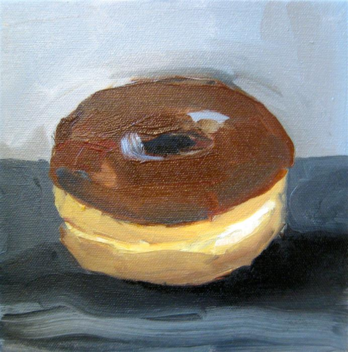 Discover Original Art by Malia Pettit | Chocolate Donut in Grey oil painting | Art for Sale Online at UGallery