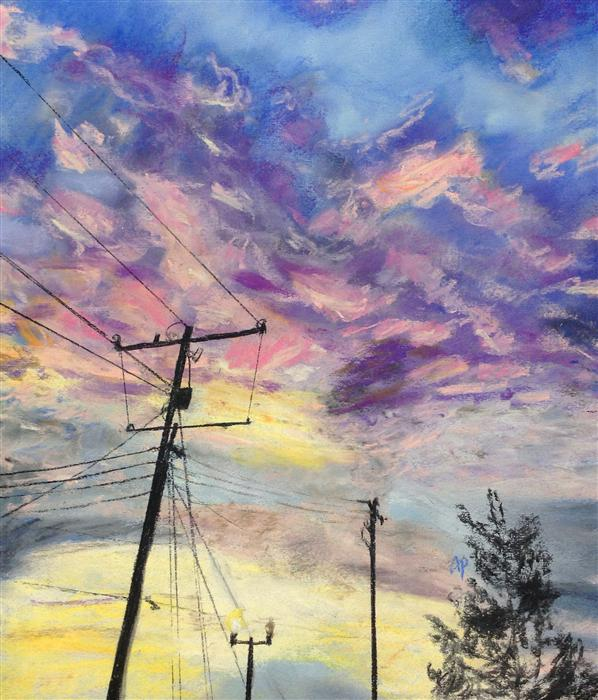 Discover Original Art by Anastasia Pimentel | Telephone Poles pastel artwork | Art for Sale Online at UGallery