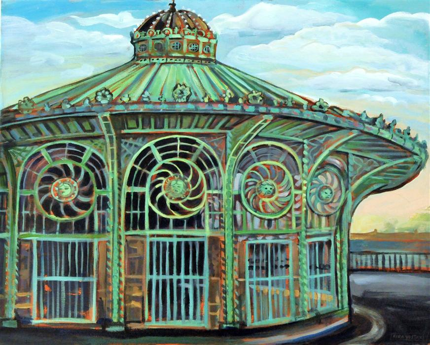 Discover Original Art by Kira Yustak | Carousel House, Asbury Park NJ acrylic painting | Art for Sale Online at UGallery