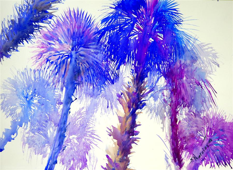 Discover Original Art by Suren Nersisyan | Blue Purple Palm Trees watercolor painting | Art for Sale Online at UGallery
