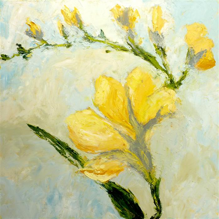 Discover Original Art by Judy Mackey | Yellow Freesia oil painting | Art for Sale Online at UGallery