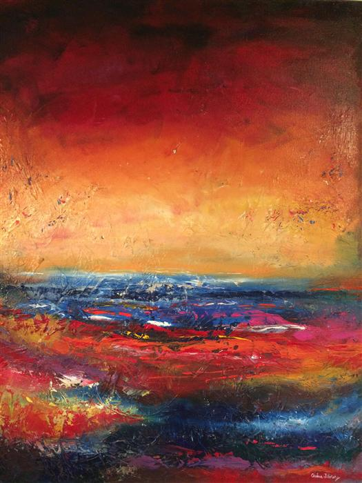 Discover Original Art by Chelsea Tikotsky | Red Sky at Night oil painting | Art for Sale Online at UGallery