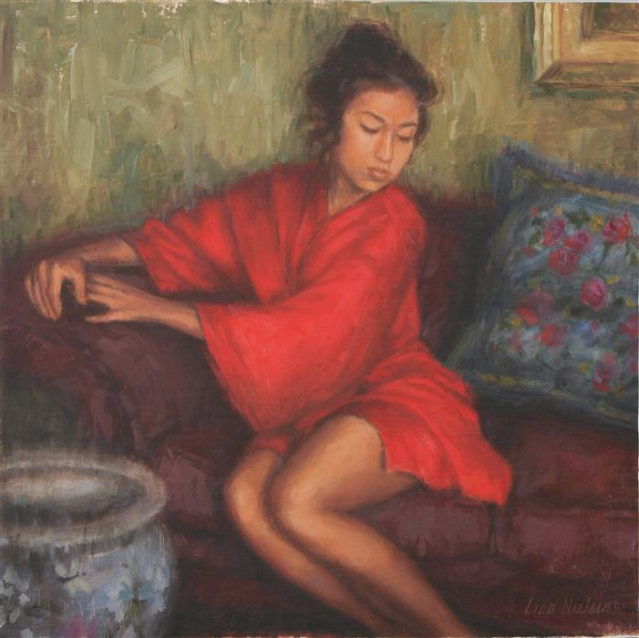 Discover Original Art by Lisa Nielsen | Red Silk Robe oil painting | Art for Sale Online at UGallery