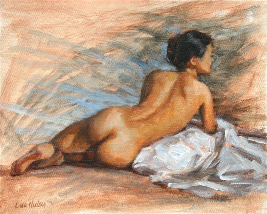 Discover Original Art by Lisa Nielsen | Nude with Blue oil painting | Art for Sale Online at UGallery