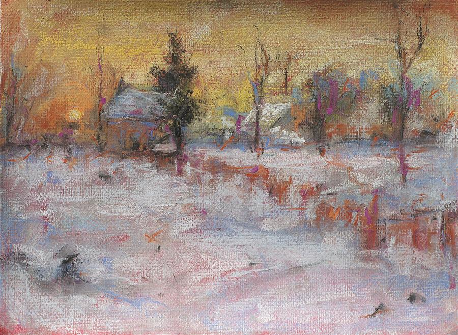 Discover Original Art by Sarah Beth Goncarova | Snowy Field at Evening pastel artwork | Art for Sale Online at UGallery