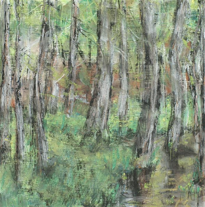 Discover Original Art by Sarah Beth Goncarova | Birch by Stream Edge mixed media artwork | Art for Sale Online at UGallery
