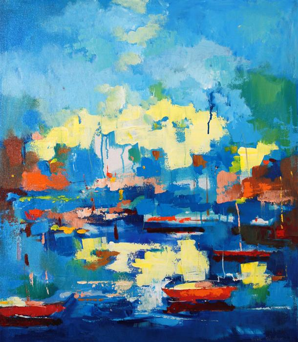 Discover Original Art by Yuvak Tuladhar | Boats in Berkeley Marina acrylic painting | Art for Sale Online at UGallery