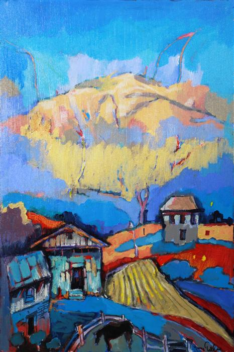 Discover Original Art by Yuvak Tuladhar | Houses and a Horse acrylic painting | Art for Sale Online at UGallery
