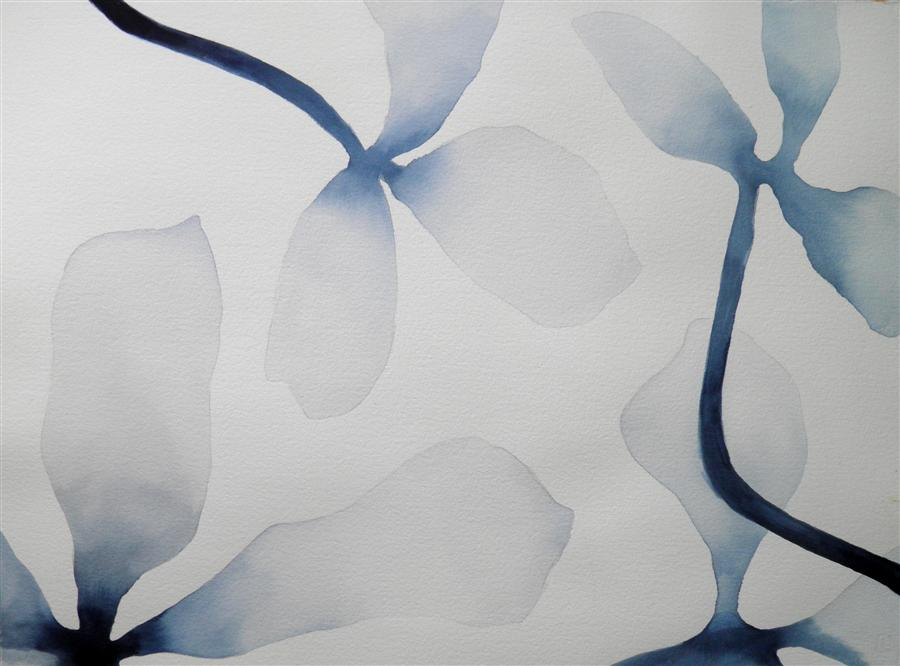 Discover Original Art by Cathe Hendrick | Indigo Blossums 1 watercolor painting | Art for Sale Online at UGallery