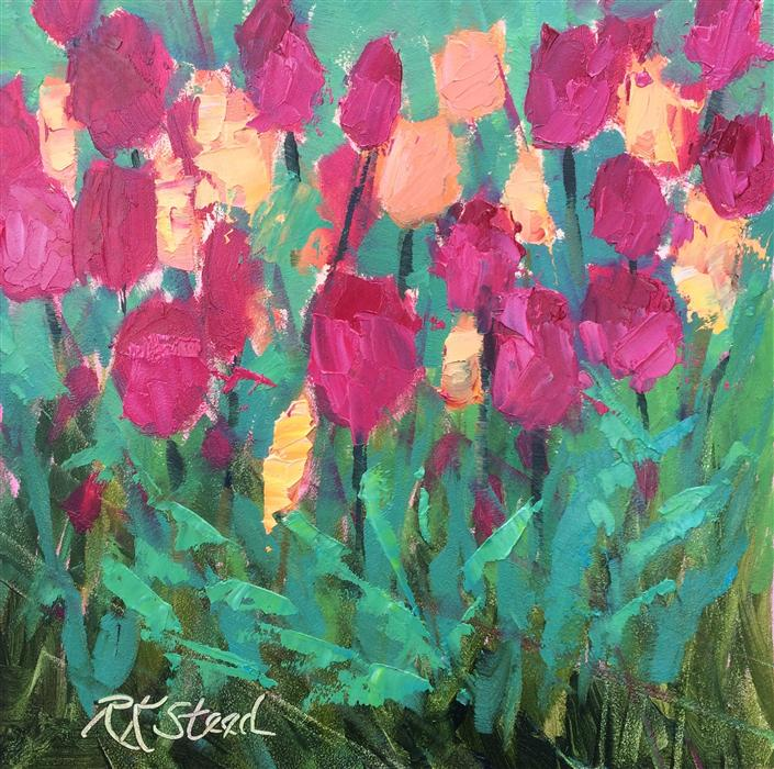 Discover Original Art by Roxanne Steed | Peach Raspberry Sorbet Tulips oil painting | Art for Sale Online at UGallery