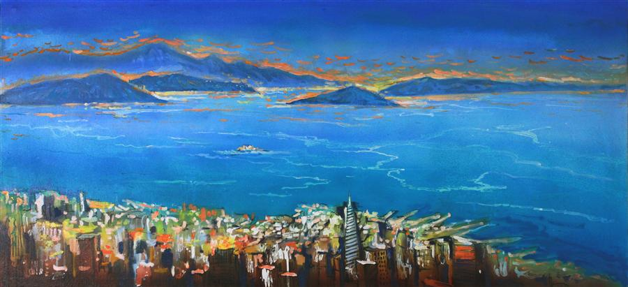Discover Original Art by Yuvak Tuladhar | A View of Marin Headlands from Twin Peaks acrylic painting | Art for Sale Online at UGallery