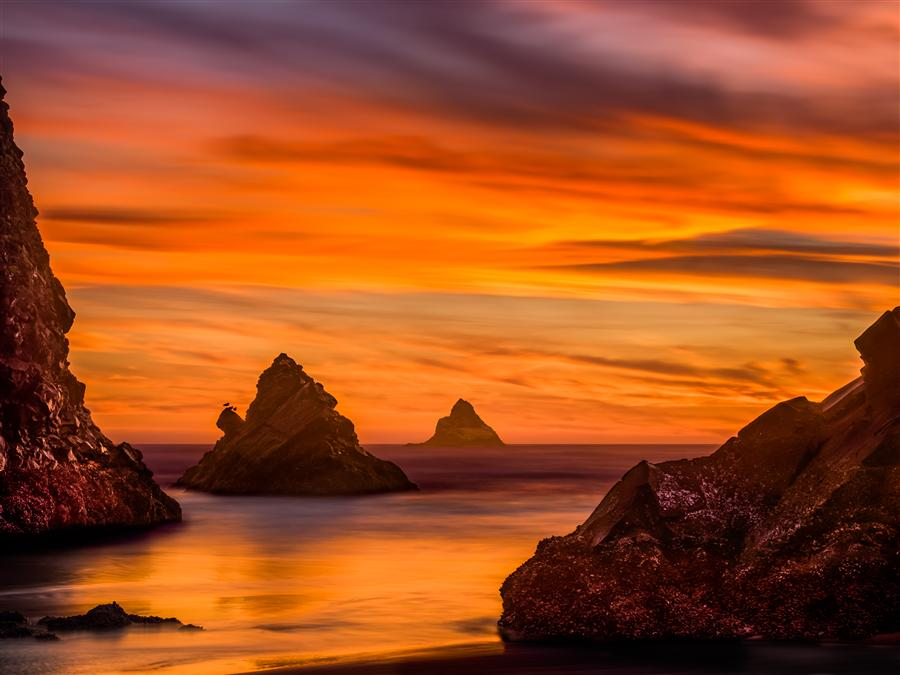 Original art for sale at UGallery.com | Oregon Coast Sunset, Arch Cape by JAY MOORE | $230 |  | ' h x ' w | \art\photography-Oregon-Coast-Sunset-Arch-Cape