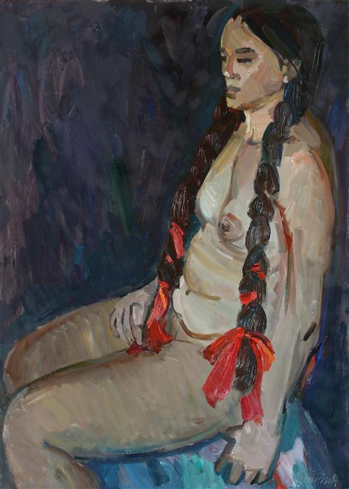 Discover Original Art by Juliya Zhukova | Seated Nude oil painting | Art for Sale Online at UGallery